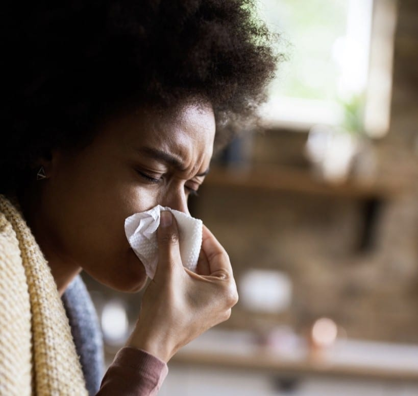 woman with low immunity with a flu